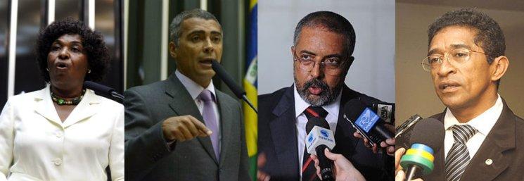 Afro-Brazilian politicians Benedita da Silva, Romário, Paulo Paim and Vicentinho.