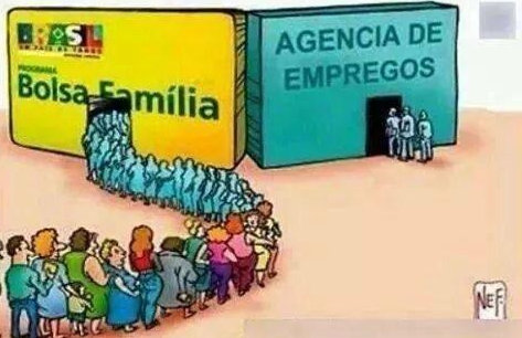 "Another reference to the bolsa família program. One line is to receive ""YAY!! Dilma won. For a minute I thought that I would need to work"" - a reference to the government's bolsa família program and the other is a job agency"