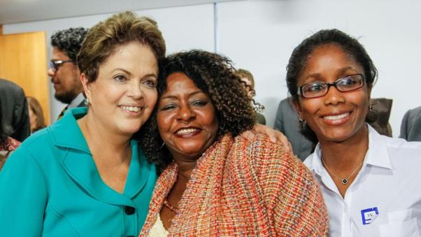 President Dilma Rousseff at left. The president earned more votes from Afro-Brazilians than her opponet