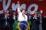 President Dilma Rousseff gives her victory speech after being re-elected on Sunday night