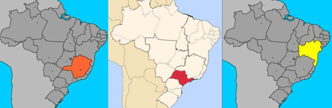 Map of Brazil - Minas Gerais in orange, São Paulo in red, Bahia in yellow