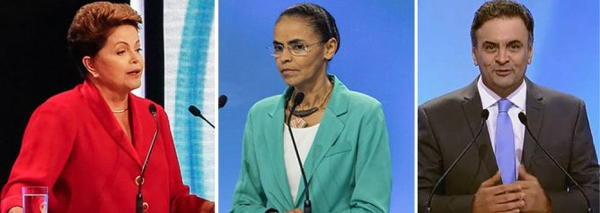 According to the latest reseach, Marina Silva (center) fell to third place on the eve of the election