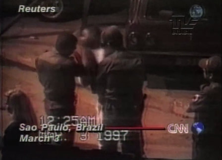 Afro-Brazilians remain the principal targets of police brutality, murder and abuse. This 1997 CNN clip shows a Military Police soldier slapping a black man in São Paulo