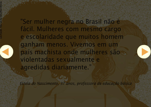 """To be a black woman in Brazil is not easy. Women with the same position and education than many men earn less. We live in a sexist country where women are sexually violated and assaulted daily."" - Estela do Nascimento, 37, elementary school teacher"