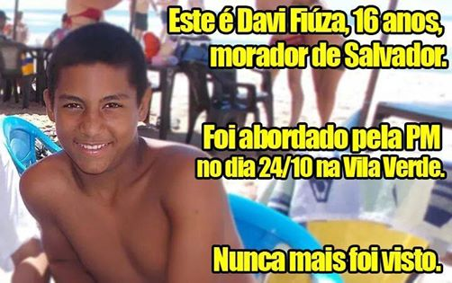 """The """"Where is Davi?"""" campaign is also being promoted on Facebook"""