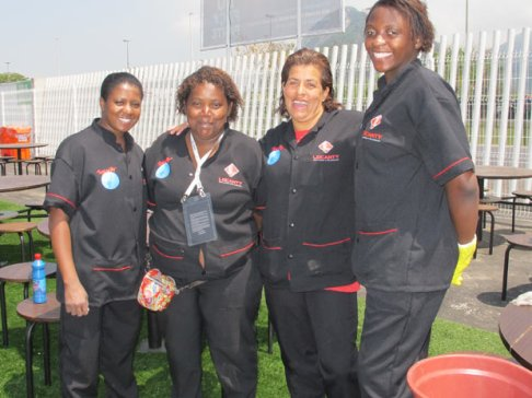 A few of the ladies of the clean up crew of 'Rock in Rio' show