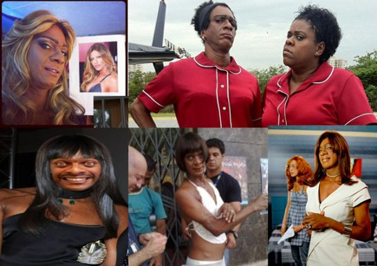 Hélio de La Peña in various photos and scenes from comedy program 'Casseta e Planeta' - In red at left with actress Cacau Protásio