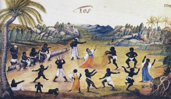 Negros dançando (blacks dancing) by  Zacharias Wagener