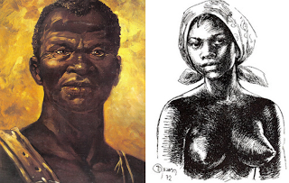 Paintings depicting Zumbi and wife Dandara of Palmares
