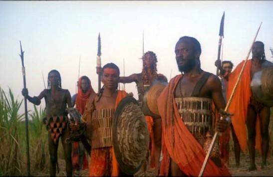 """Dandara (Zezé Motta) and Zumbi (Antônio Pompeo) in a scene from 1984 film """"Quilombo""""."""