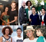 The process of whitening: Various Afro-Brazilian entertainers. Singer Aline Wirley with husband actor Igor Rickli. Former Globeleza Valéria Valenssa with husband Hans Donner and children José Gabriel and João Henrique. Actress Lica Oliveira with son Tobias, singer Gaby Amarantos with son Davi