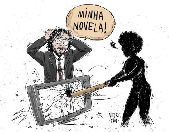 "Vitor T's depiction of black women activists reactions to recent comments by Congressman Jean Wyllys supporting 'Sexo e as negas'. Caption reads: ""My novela (soap opera)"""