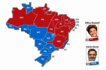 In 2014 election, President Dilma Rouseff of the PT won the red states and Aécio Neves of the PSDB won the blue states