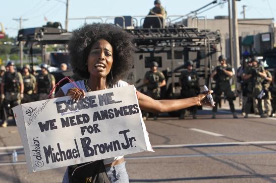 Protesters in Ferguson Missouri confront police