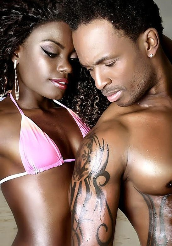 Model/dancer Nayara Justino poses with Angolan singer Adi Cudz