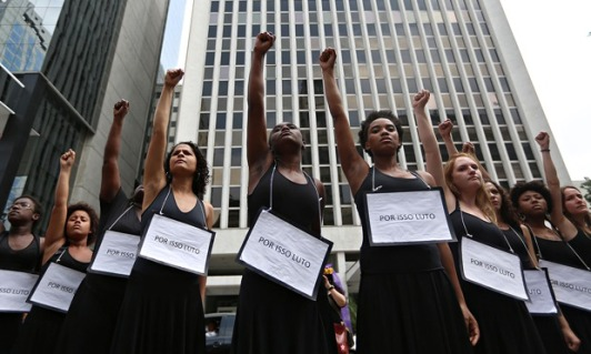 Women stage mock funeral in São Paulo in demonstration in support of change in Brazil's abortion laws. Photo - Rahel Patrasso