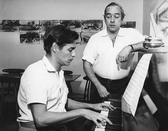 Antonio (Tom) Carlos Jobim at the piano with Vinicius de Moraes