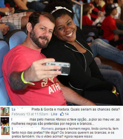 Actress Cacau Protásio and her husband. Comments: 1. Black, fat and mature. What would her chances be? 2. But at least Afonso you have an option...the worse thing in my view..black women are being passed over by black men and white men.  3. Romero, why does the black man, handsome like you, have so much disgust of black women? (Can you) tell me? The white men want white women and the black men also. Did you see the video above? Now note this: