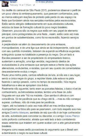 Israel comment in original Portuguese