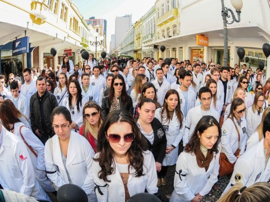 Doctors during a protest in the southern state of Santa Catarina in 2013