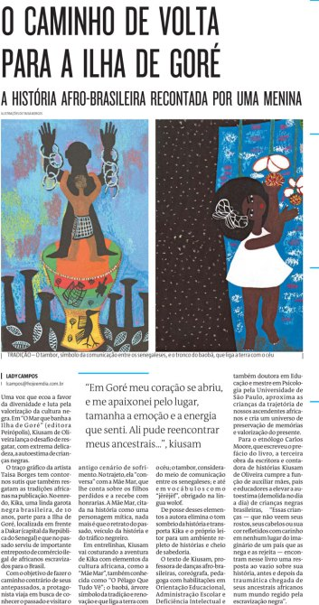 "News article on book: ""The path back to Goree Island: The Afro-Brazilian story told by a girl"""
