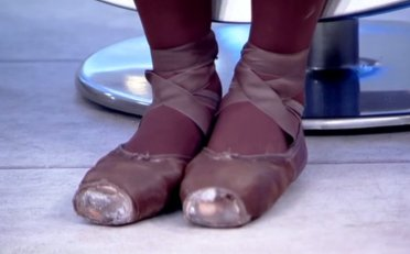 Ingrid explained how she made her dance slippers more compatible with her skin tone