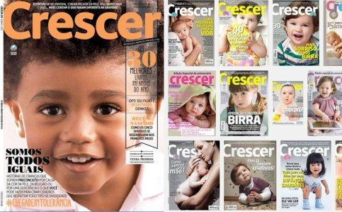 Cover of new issue of 'Crescer' magazine (right) and a Google image search of what the magazine's covers normally look like