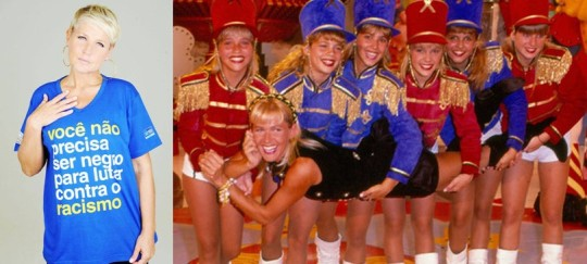 TV host Xuxa at left with anti-racism t-shirt. At right, at the height of her career with her co-starsThe Paquitas