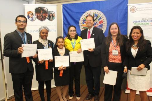 Beatriz de Santana Pereira and Thayná dos Santos Almeida of Bahia along with another Brazilian, Fernando da Silva Boges of Mato Grosso do Sul (far left) received honorable mention for their projects