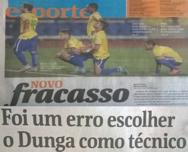 Folha headlines on JUne 28th after National Team loss