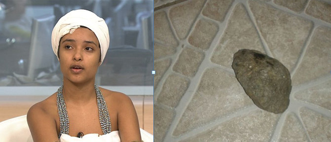 'I'm very, very scared. I'm afraid of dying' - At right, stone that struck 11-year in the head