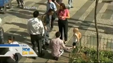 Numerous people stopped to help the blond-haired white child