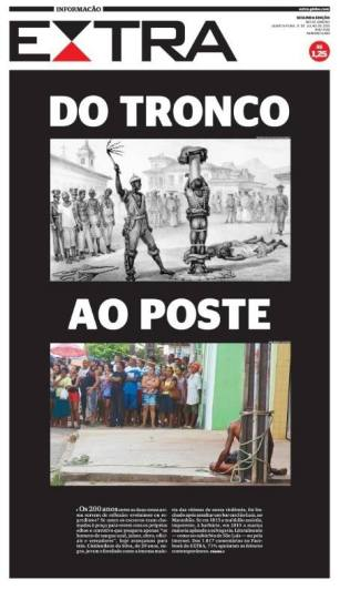 Top: An image depicting a public whipping of a black man during Brazil's slavery era - Bottom: The public lynching of a black man in July 2015