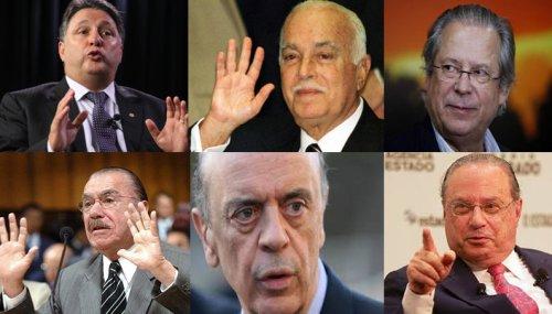 Politicians Anthony Garotinho, Antônio Carlos Magalhães,  José Dirceu, Paulo Maluf, José Serra and  José Sarney