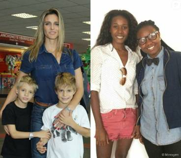 Model/TV host Fernanda Lima with her children (at left) and her nannies (right) Angela Dias and Tayane Dias