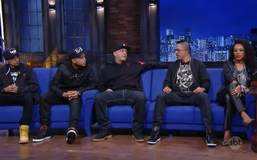 RZO members Calado, DJ Cia, Sandrão, Helião and Negra Li during their appearance on 'The Noite'