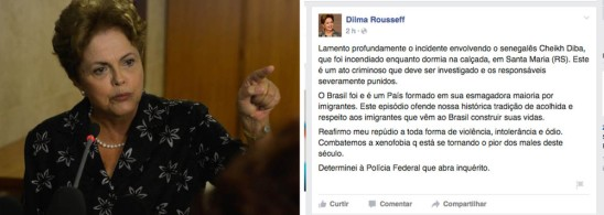 President Dilma expresses sorrow and repudiates assault on Senegalese man