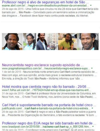 Headlines: 'Black professor is target of security in hotel...', 'Black neuroscientist clarifies supposed episode of...', 'Hotel shows that black scientist wasn't barred...', 'Carl Hart is supposedly barred in five star hotel lobby', 'Black professor from the US denies having been barred in hotel...'