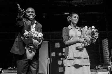 The couple receives applause at the end of the play