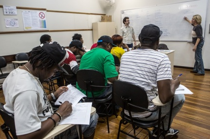 Haitians taking a Portuguese classes in Curitiba