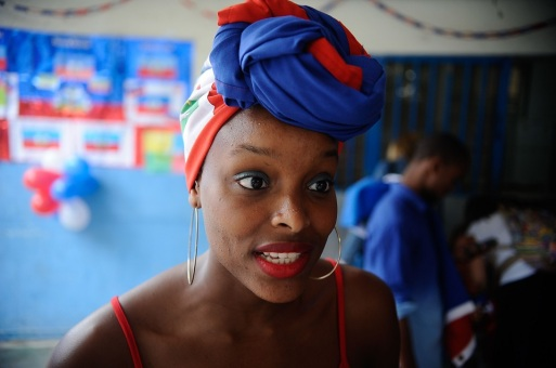 The Haitian student Marina Mathieu during the release of the NGO Viva Rio project launched in partnership with the Escola Municipal Haiti, that helps Haitian immigrants in Brazil