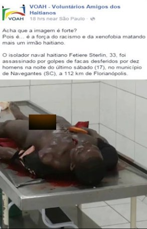 VOAH, Voluntary Friends of Haitians released the photo of the victim below and the comment: