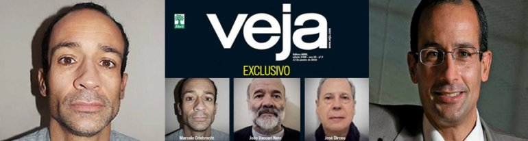 Marcelo Odebrecht is president of Brazilian construction giant Odebrecht. At left and center as he appeared on a cover Veja magazine charged with corruption and money laundering