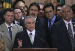 Interim President Michel Temer speaks at inauguration of his cabinet's ministers