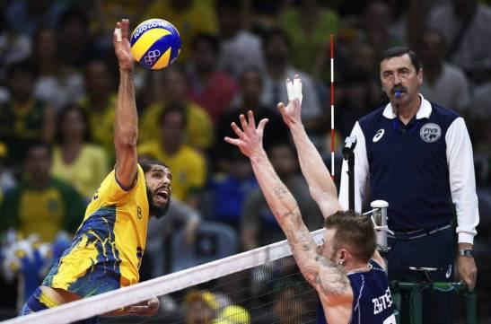 O jogador brasileiro Wallace durante partida contra a Itália, válida pela disputa da medalha de