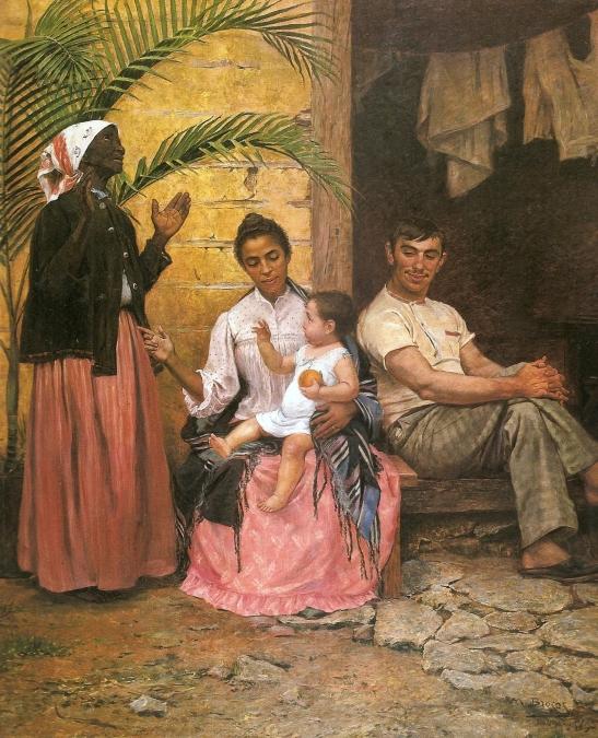 A obra de 1885 retrata a busca do embranquecimento através da miscigenação (Imagem - Modesto Brocos-Wikimedia Commons)