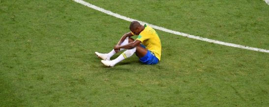 Brazilian player Fernandinho after the 2 - 1 defeat to Belgium in the World Cup quarter-final