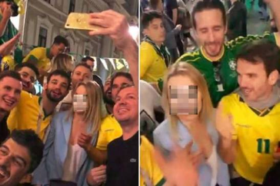 Disgraced Brazilian fans include high-rank professionals encourage a Russian woman to sing about her genitalia.