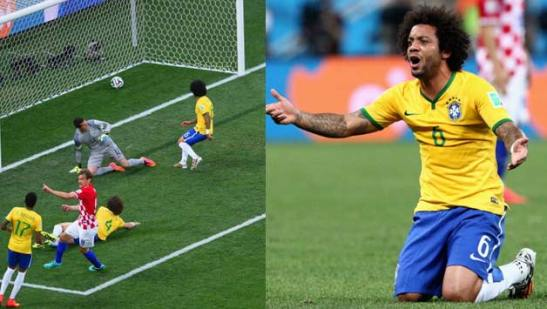 Marcelo scores an own goal in the opening game of the 2014 World Cup
